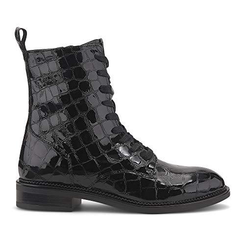 Cox Damen Kroko-Stiefelette aus Lack-Leder, aparte Schnür-Stiefel mit Reißverschluss an der Innenseite, glänzende Boots in Schwarz Schwarz Lackleder 39