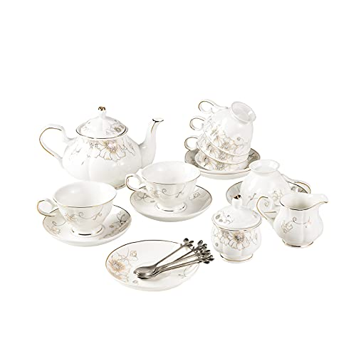 english tea set for adults 21-Piece Porcelain Ceramic Coffee Tea Gift Sets, Cups& Saucer Service for 6, Teapot, Sugar Bowl, Creamer Pitcher and Teaspoons.