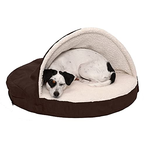 Furhaven Orthopedic Pet Bed for Dogs and Cats - Sherpa and Suede Snuggery Blanket Burrow Nest Dog Bed with Removable Washable Cover, Espresso, 26-Inch