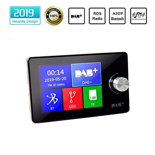 Auto DAB/DAB + Empfänger RDS Europäischer Digitales Radio-Tuner mit A2DP Bluetooth Freisprecheinrichtung mit 2.8 Zoll LCD Display 3,5 mm Aux-Ausgang TF-Karte/USB Anschluss FM Transmitter