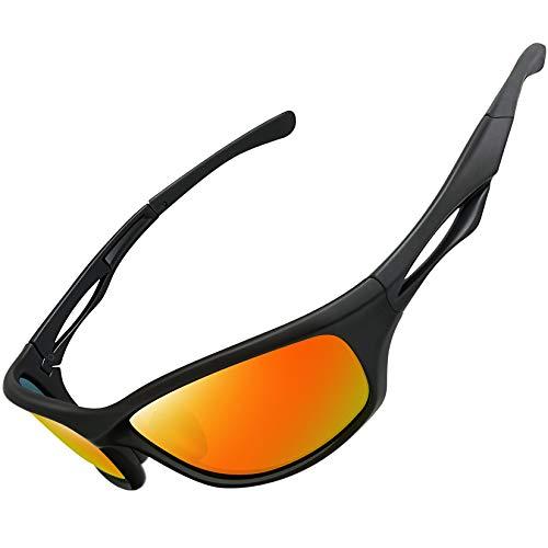 Joopin Gafas de Sol Deportivas Polarizadas con Protección UV 400 Gafas de Ciclismo, Bicicleta Montaña Moto, Golf y Deportes al Aire Libre para Hombres y Mujeres Lente de espejo rojo
