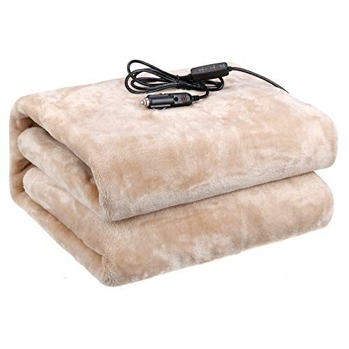 Audew Car Heated Blanket for Both 12V and 24V Vehicles, Breathable Flannel Material Electric Car Blanket, Soft and Comfortable, Great for Car, Truck & RV (Color:Beige)