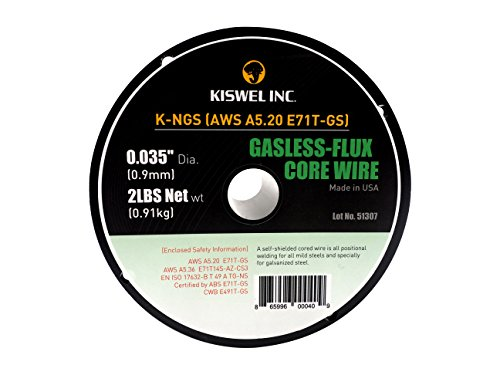 (2 Rolls) Kiswel USA K-NGS E-71TGS 0.035in. Dia 2lb. Gasless-Flux Core Wire Welding wire (2lb) Made in USA