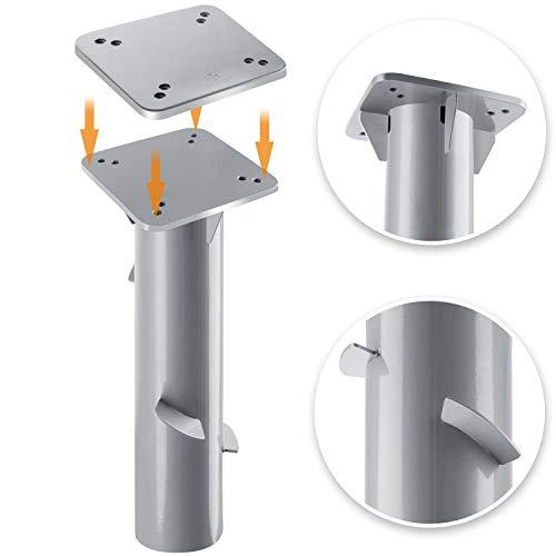 Kesser® - Metall Universal-Bodenplatte Sonnenschirmständer für Sonnenschirm - Ampelschirm - Kurbelschirm | Bodenanker, Montageplatte 16 x 16 cm | Silber