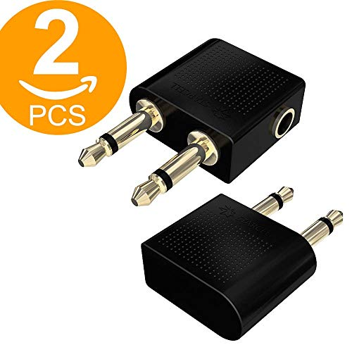 Act Flugzeug-Adapter für Kopfhörer, vergoldet, 2 Stück, 3,5 mm