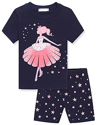 Mädchen Schlafanzug Baumwolle Zweiteiliger Schlafanzüge Langarm Set Kinder Nachtwäsche Winter Pyjama(EIN tanzendes Mädchen Drucken), Navy Blau, 140