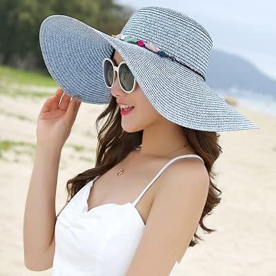 Shihuawu Sombrero para el Sol de ala Grande para Mujer, Sombrero de Paja Hecho a Mano de Piedra de Color, Sombrero de Verano para Mujer, Sombrero Informal para la Playa, gorra-azul-G0998