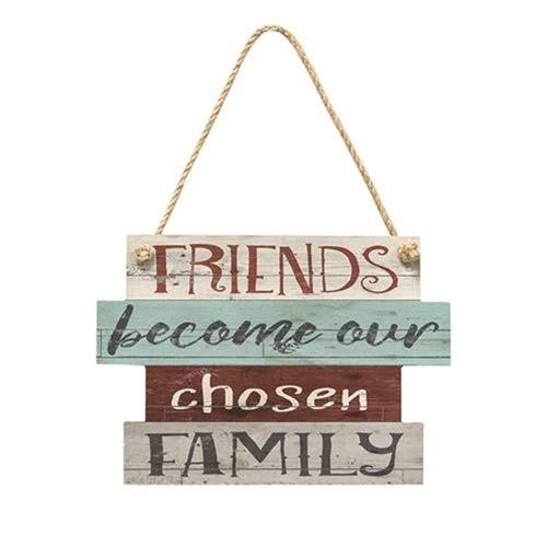 Rustic Wooden Wall Hanging Sign - Sign Displays the Phrase, 'Friends Become Our Chosen Family' in Mixed Fonts and Colors. Hangs on a Jute Cord - Farmhouse Rustic Home Decor.