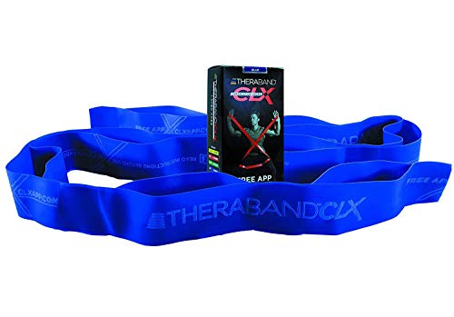 TheraBand CLX Resistance Band with Loops, Fitness Band for Home Exercise and Workouts, Portable Gym Equipment, Best Gift for Athletes, Individual 5 Foot Band, Blue, Extra Heavy, Intermediate Level 2