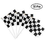 Heqishun 30 Stück Zielflagge Formel 1 Racing Flaggen Formel Fahne Schwarz Weiß für GeburtstagRennwagenparty und Racing