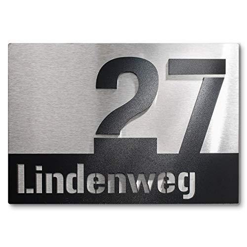 Metzler Edelstahl Hausnummernschild mit 3D-Effekt in schwarz - Edelstahl Türschild mit aufgesetzter Hausnummer und Straße - Hausnummernschild aus Edelstahl, Größe: 25 x 17,5 cm