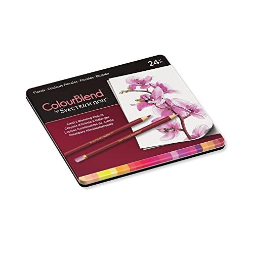 Spectrum Noir Jeu de 24 Crayons de Couleur Blend, 0, Florals, 19.5 x 23.2 x 1.5 cm