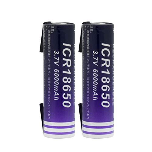 RitzyRose 18650 - Pilas recargables de iones de litio de 3,7 V, 6000 mAh, para linterna frontal con 2 cables para bricolaje