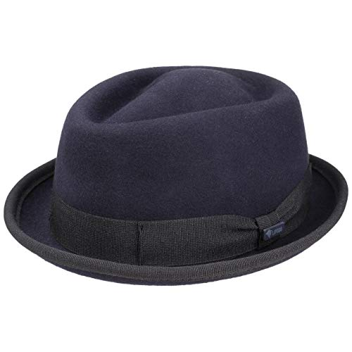 Lipodo Gratus Women's/Men's Pork Pie Felt hat - Hat Made of Wool Felt - Made in Italy - Summer/Winter Fedora - Pork Pie hat with Ribbed Band - Wool hat Navy L (7 1/4-7 3/8)