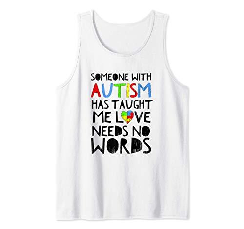 Concienciación sobre el autismo Amor sin palabras Corazón Camiseta sin Mangas