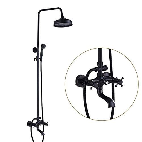 SUGU Schwarz Duschsystem mit schwenkbarer Duscharm für die Wandmontage | Badzimmer Duscharmatur inkl. 150cm Brauseschlauch