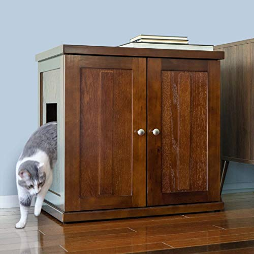 THE REFINED FELINE Cat Litter Box Enclosure Cabinet, Hidden Litter Tray Cat Furniture, Large + XLarge, Shaker Style, Mahogany Color