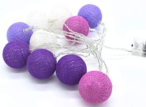 joka international GmbH LED Lichterkette Cottonballs Cotton Balls in Lila 10 TLG
