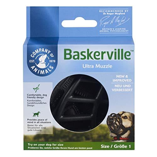Baskerville Ultra - Bozal de goma, Negro, Talla 1 (Longitud: 5 cm/Anchura: 22 cm)