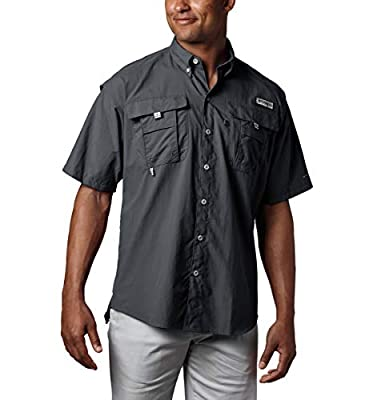 Columbia Men's PFG Bahama II Short Sleeve Shirt, Black, Large