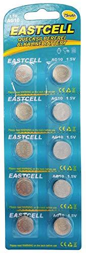 EASTCELL 10 x AG10 1,5V Quecksilberfrei 70 mAh (1 Blistercard a 10 Batterien) LR54 189 L1130 EINWEG Markenware