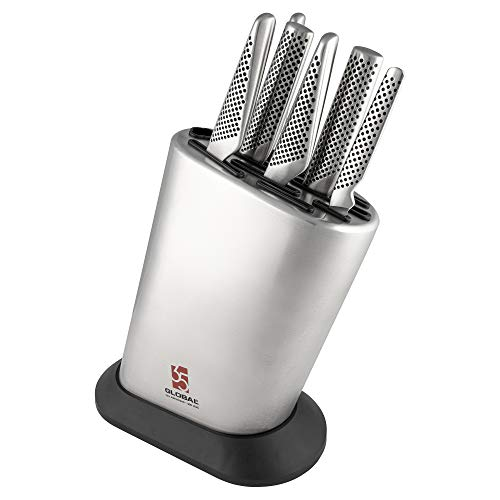 Global G-836/35AN7 35th Anniversary Special Edition 7 Piece Set ? 6 Knives & 1 Knife Block, 18 Cromova Stainless Steel