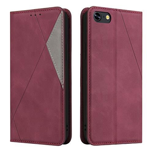 Coque pour iPhone 8/7/SE2 Housse, Etui en Cuir PU Portefeuille Coque avec Fente Carte, Fermeture Magnétique und Flip Béquille pour Apple iPhone7/8 - JEYTB030016 Rouge