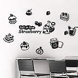 Sticker mural pour gâteau, lait, pain, pâtisserie, cuisine, thé, restaurant, fenêtre, verre, carrelage 40 x 40 cm