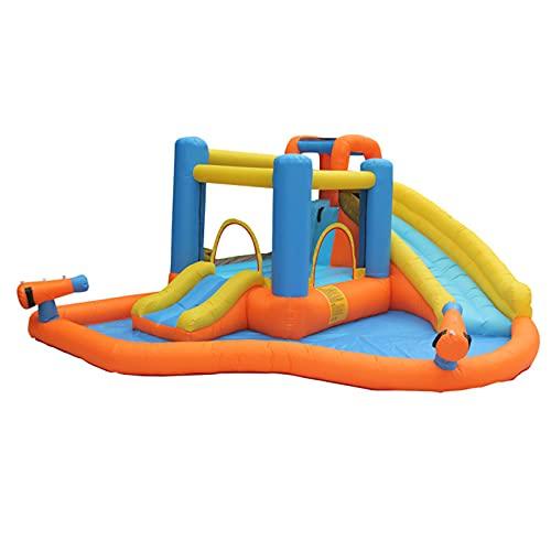 FYHpet Toboganes inflables de Agua, niños Que saltan la casa Rebote con Diapositivas largas Sube Pared Piscina Grande los cañones Agua para el Parque acuático Inflable al Aire Libre