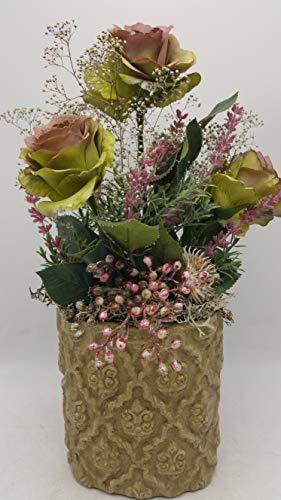 Seidenblumengesteck Herbstgesteck Tischgesteck Rosen Gräser Blätter grün rosa