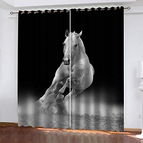 Ageeseso® Verdunkelungsvorhang Gardinen Kreatives Tier weißes Pferd 2er-Set Vorhänge 3D Druck Muster Fenster Vorhang für Wohnzimmer Schlafzimmer Gardinen Kräuselband Dekoration 220(W) x215(H) cm Weih
