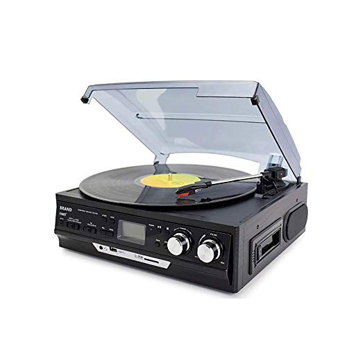 LKNJLL Retro Bluetooth Record Player und Multimedia-Center mit eingebautem Lautsprecher - 3-Gang Plattenspieler, CD-Player, AM/FM Radio |Vinyl MP3-Aufnahme |Wireless Music Streaming