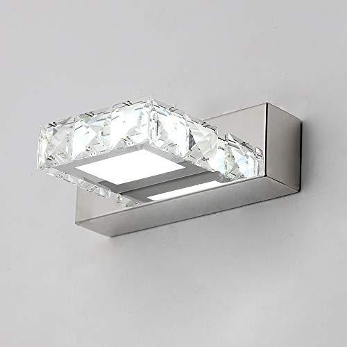 DAXGD Applique Fari a specchio a LED in cristallo 3W 5500K, Lampada acrilica impermeabile in acciaio inossidabile IP44, antiappannamento (argento), 16x5cm