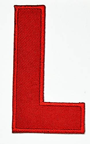 3 INCHES English Letter L Red Patch Iron On Patches Novelty Letter from A to Z Embroidered Patch Sew On Alphabet Applique Patches for Hats, Jackets, Shirts, Vests, Jeans Stickers Badge Costume (L)