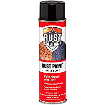 AGS RUST SOLUTIONS Apply Over Rust Paint for Stopping Rust and Preventing Rust from Spreading UV Resistant All in One Application Permanently Stop Rust Matte Black Finish Aerosol Spray Paint