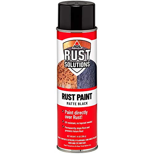 AGS RUST SOLUTIONS Apply Over Rust Paint for Stopping Rust and Preventing Rust from Spreading, UV Resistant, All in One Application, Permanently Stop Rust, Matte Black Finish, Aerosol Spray Paint