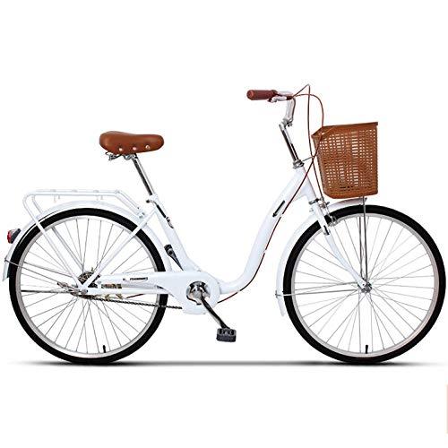 24 Inch Lady's Urban Bici Da Città Classico Vintage Tempo Libero Cruiser Bici Con Cestello Anteriore E Ripiano Posteriore Telaio in Alluminio Leggero E Doppi Freni Biciclette Da Crociera,Bianca