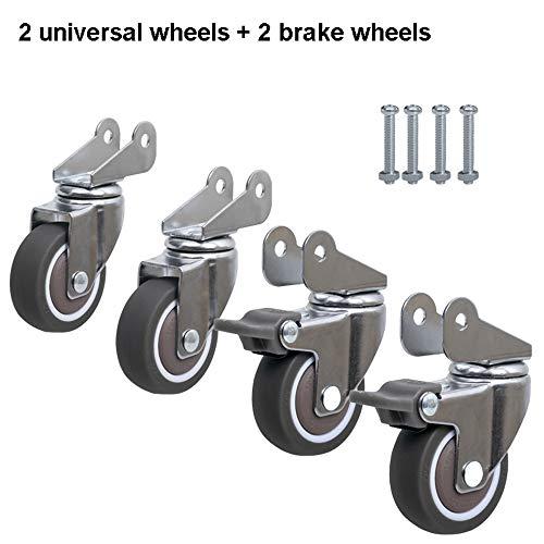 HLILY 4-Teiliger Satz Von HochleistungsfußRollen 2 Zoll Kinderwagen Flip Rad BüRostuhl Universal-Rad Mit Bremse Sicherheitsrolle MöBelersatzteile