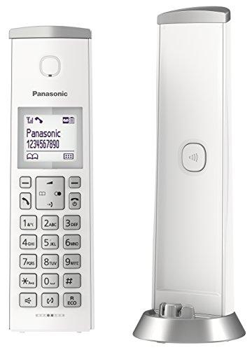 Panasonic KX-TGK220JTW Telefono Cordless DECT con Segreteria Telefonica, LCD 1.5' con Retroilluminazione Bianca, Suoneria Polifonica, Blocco Chiamate Indesiderate, Modalità Eco e Eco Plus, Bianco