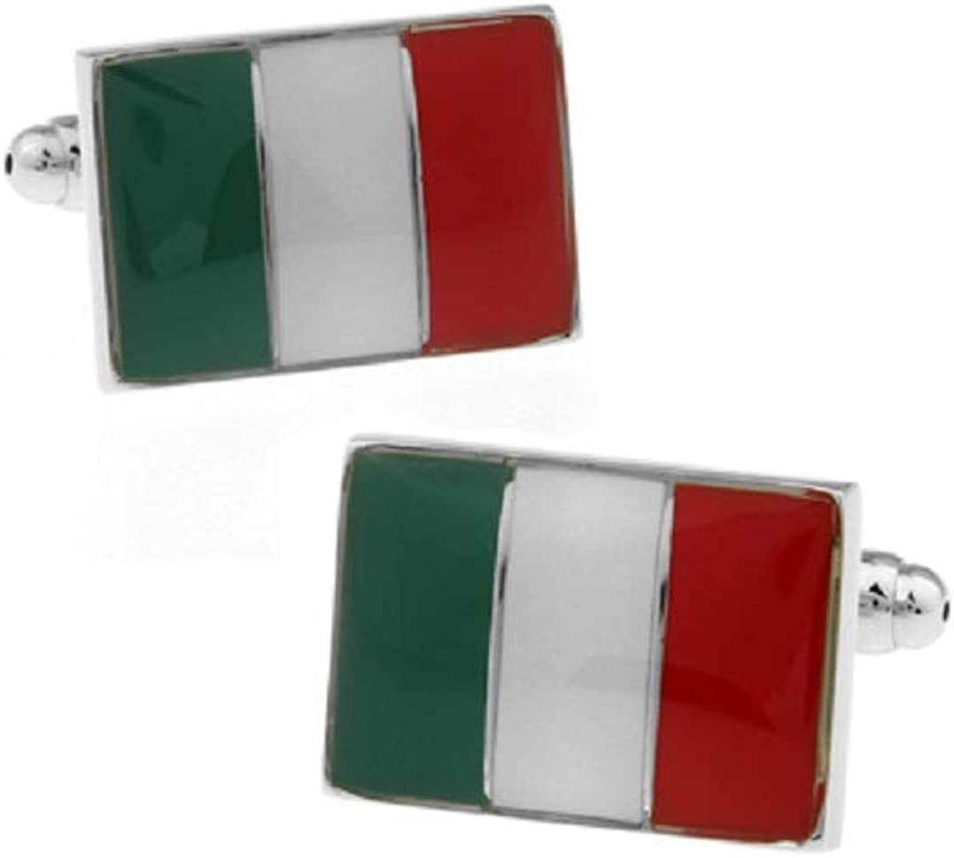 MRCUFF Italian Flag Italy Red White Green Pair Cufflinks in a Presentation Gift Box & Polishing Cloth