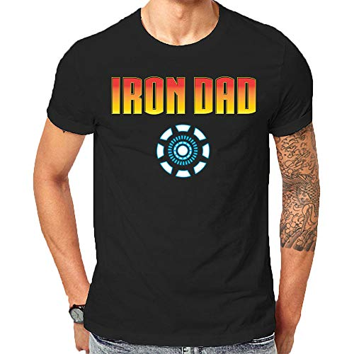 Made in USA Themed Iron Dad T-Shirt for The Best Man & Dad in The World Fathers Day Shirt (Small) Black