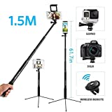 61 Inch Wireless Selfie Stick Tripod Stand, Moreslan Phone Tripod Monopod with Bluetooth