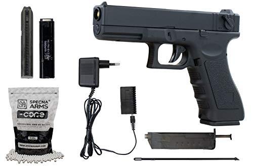 Softair G18 Pistole CYMA CM030 AEP Airsoft Set + 5000 hochwertige Softairkugeln inkl. Akku & Ladegerät Vollautomatisch & Semi Kal 6mm BB<0,5J
