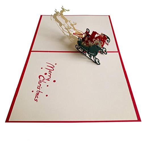 1pc 3d Up Grußkarten Cartoon Weihnachten Elk Pulling Wagen Papierkarten Diy Folding-einladungs-karten Postkarte Für Partei-weihnachts Pop