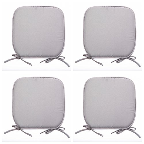 Luxury Garden, Dining Chair Foam Cushions Tie On Seat Pads in set of 2,4,6 or 8 (Pack of 4, Grey)
