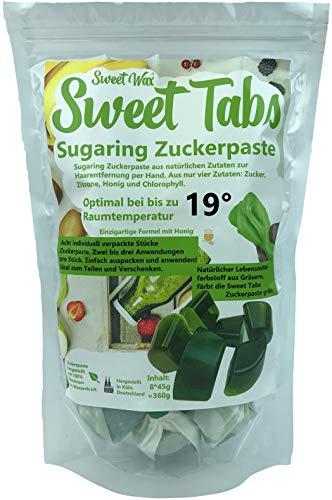Sweet Tabs 19° Grün Brazilian Wax. Einfach auspacken, kneten und anwenden. Enthaarungswachs aus Sugaring Zuckerpaste zur Haarentfernung per Hand. Keine Vliesstreifen oder Erwärmen nötig. 8 * 45g =360g