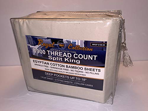 Split King Royal Collection 1900 Egyptian Cotton - Bamboo Quality Bed Sheet Set with 2 Twin XL Fitted, 1 King Flat and 2 King Pillow Case.Wrinkle Free Shrinkage Free Fabric (Split King, Tan/ Cream)