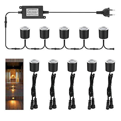 Arote LED Bodeneinbaustrahler, Einbauleuchte, 30mm 12V 10er Set, warmweiß, IP65 wasserdicht
