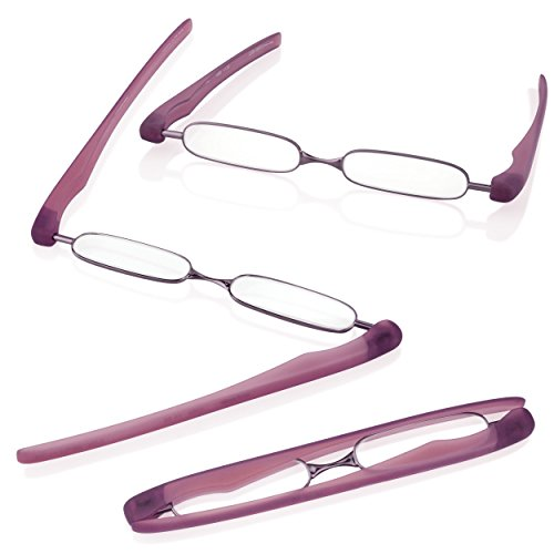 PODREADER Gafas para leer y funda, plegable, ahorra espacio, de + 1,00hasta + 3dioptrías, morado, +1,50 Dioptrien