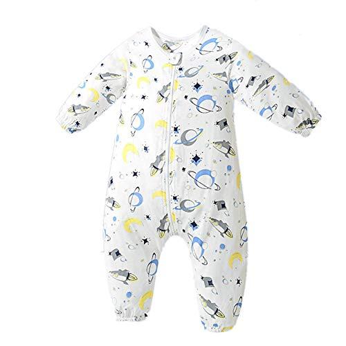 Bebé Saco de Dormir Algodón Bolsa de Dormir con Piernas 1.5 Tog Mameluco Primavera Verano Pijamas Manga Larga para Niños Niñas, 9-18 Meses